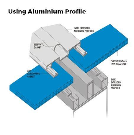 Menggunakan profil H Aluminium