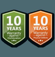 Garansi Alcolite 10 tahun untuk perubahan warna dan 10 tahun untuk kerusakan fisik