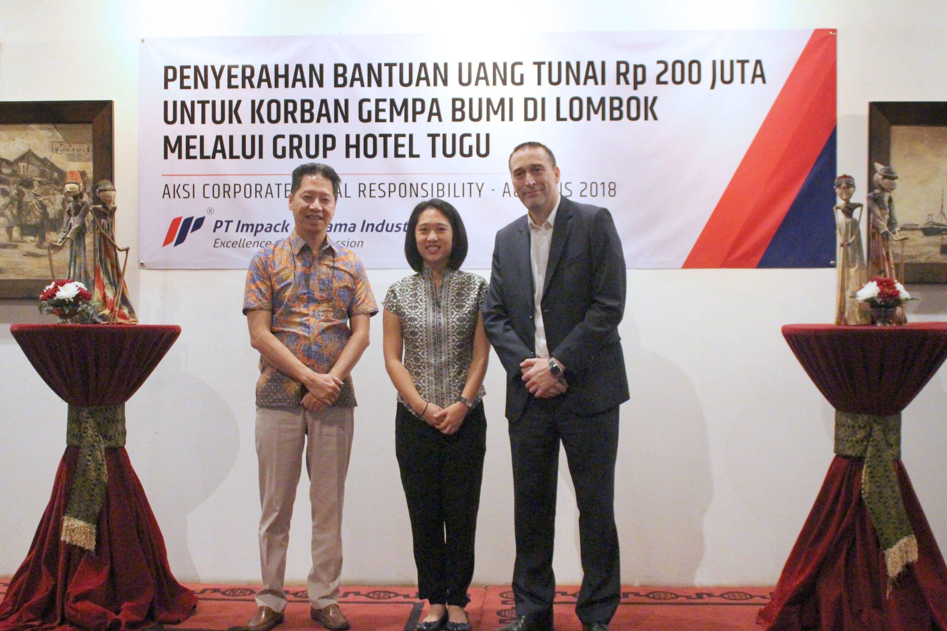 CSR Impack Group Penyerahan Bantuan Uang Tunai Rp 200 juta Lombok 2018