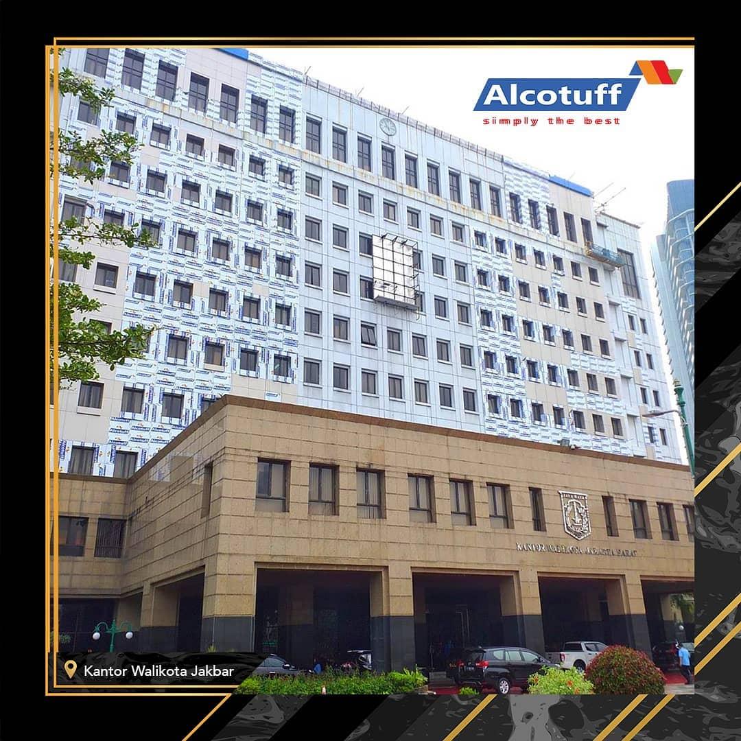 acp alcotuff sebagai wall cladding kantor walikota jakbar