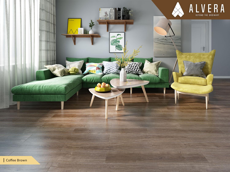 alvera coffee brown lantai vinyl motif kayu pada ruang keluarga