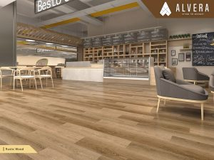 alvera rustic wood lantai vinyl motif kayu pada restaurant cafe