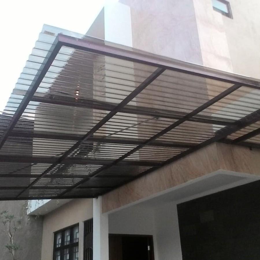 atap teras carport minimalis solartuff warna cokelat bronze
