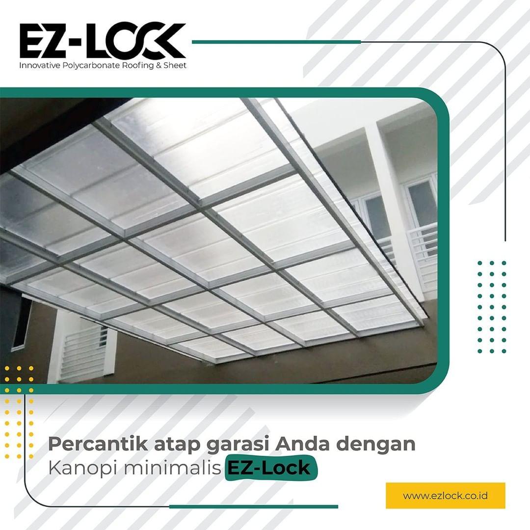 kanopi minimalis ezlock polycarbonate bening transparan