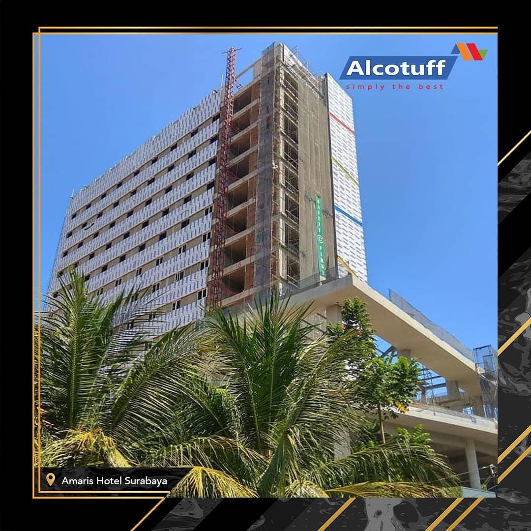 fasad bangunan acp alcotuff pelapis dinding gedung hotel amaris