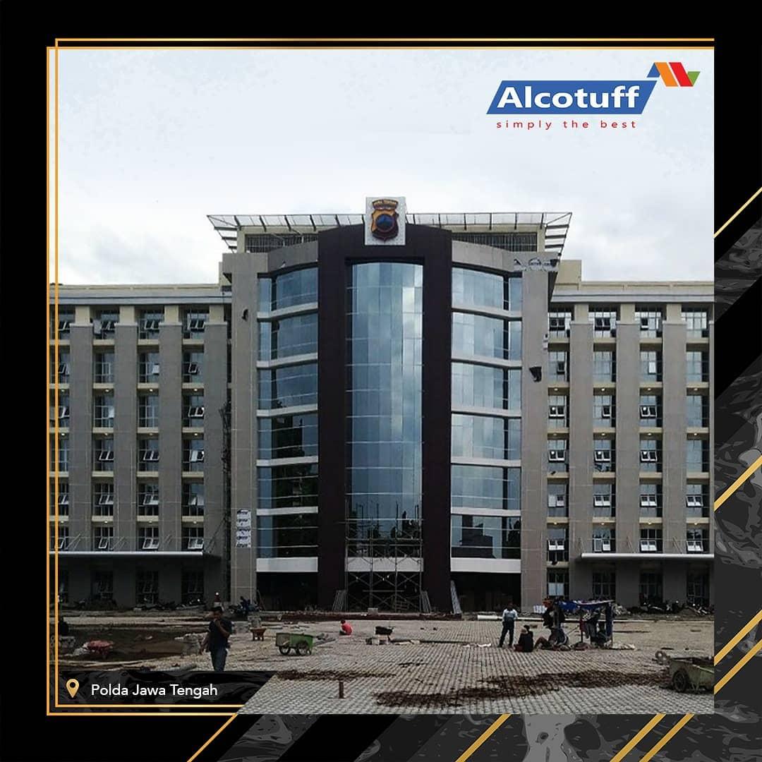 fasad bangunan alcotuff acp panel aluminium composite panel polda jateng