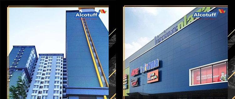 fasad bangunan material acp aluminium composite panel alcotuff decobond