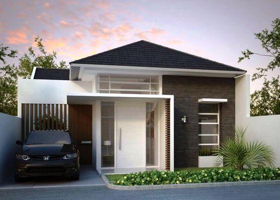 fasad rumah minimalis 1 lantai monokrom