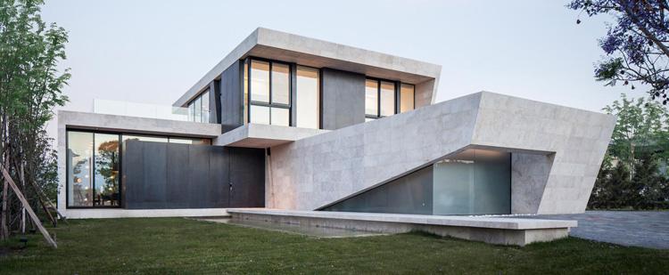 fasad rumah modern acp motif marble keramik