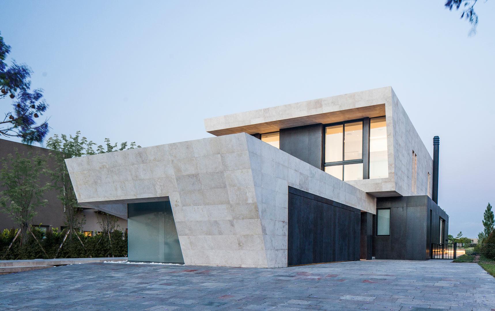 fasad rumah motif marble marmer