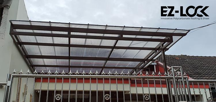 kanopi teras polycarbonate ezlock transparan bening