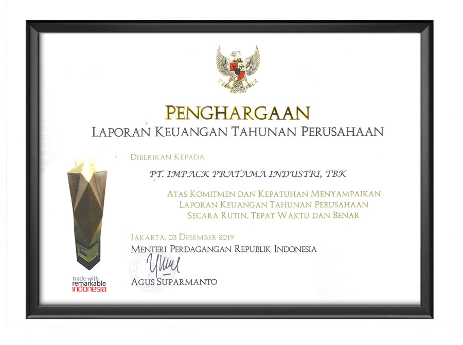 penghargaan award impack impc laporan keuangan tahunan perusahaan
