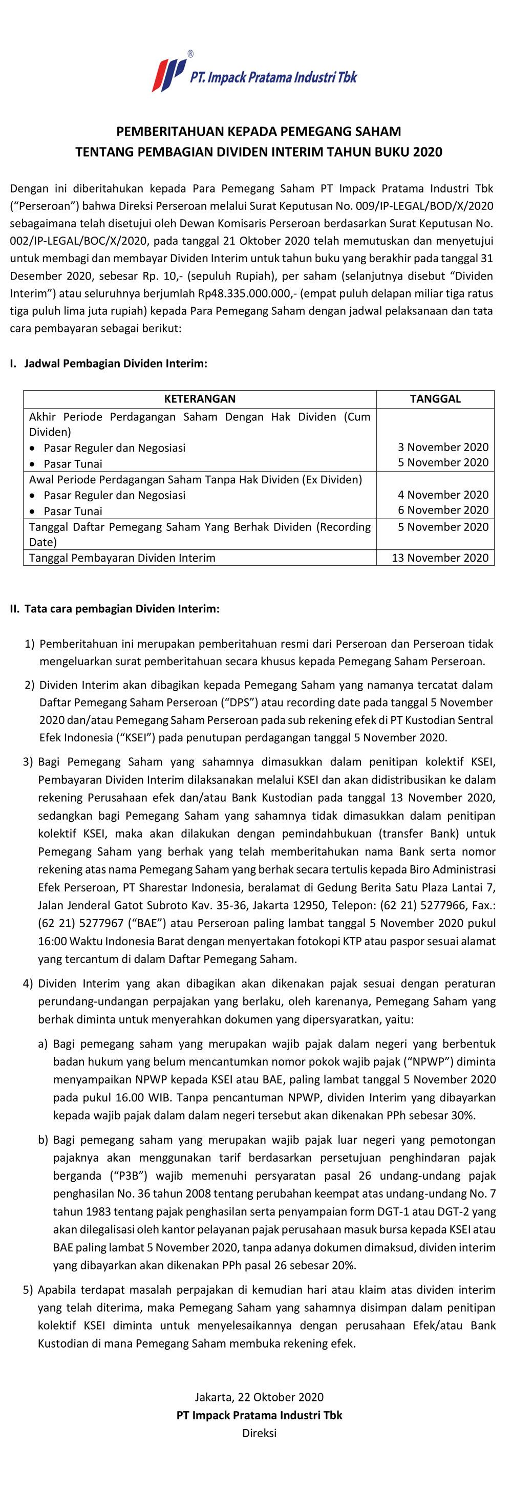 pengumuman ke publik dividen interim 2020