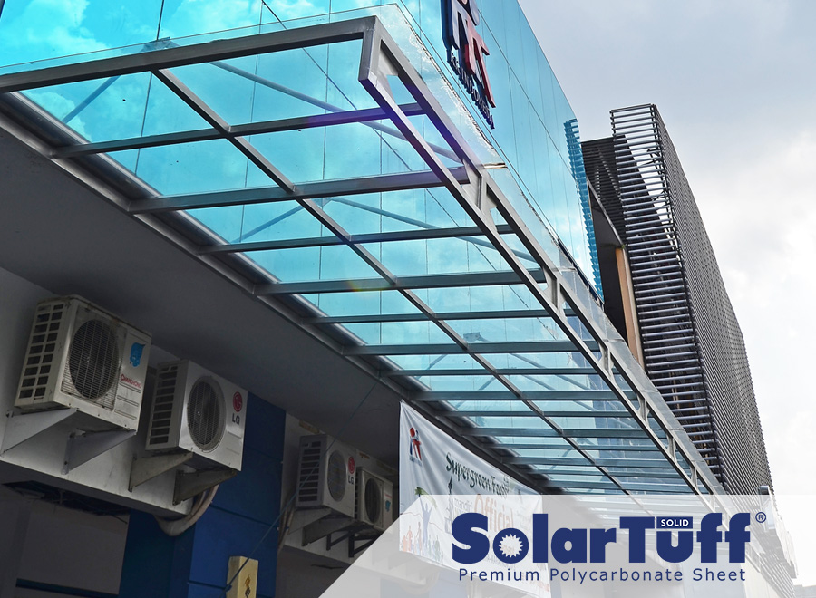 proyek polycarbonate solartuff solid desain kanopi minimalis fasad gedung