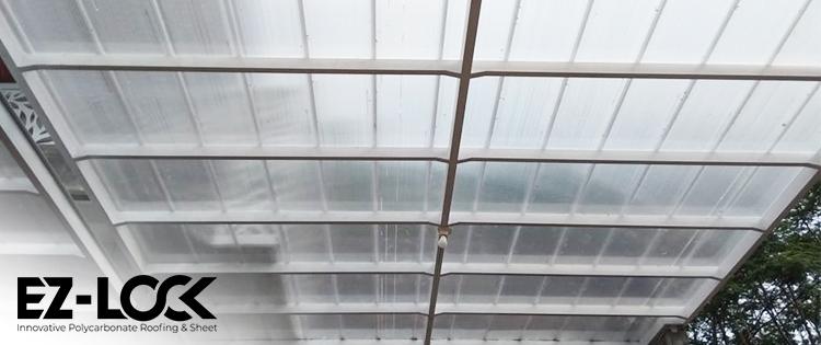 rekomendasi kanopi baja ringan minimalis ez-lock atap transparan
