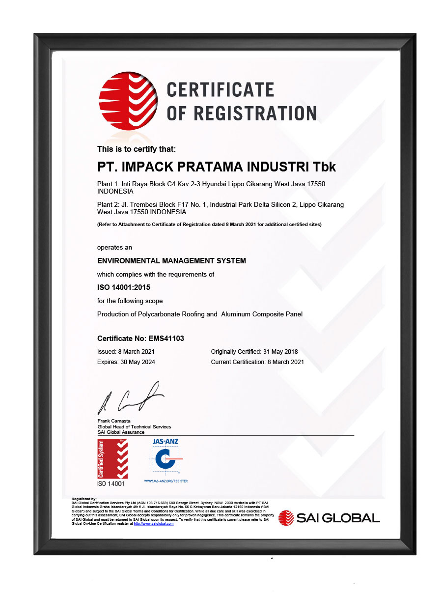 sertifikat certification impack impc iso 14001 2015
