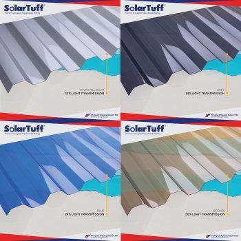 transmisi cahaya polycarbonate solartuff warna biru abu silver bronze