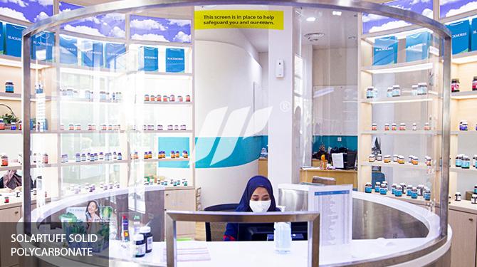partisi transparent protective solution blackmores counter top perlindungan dari virus