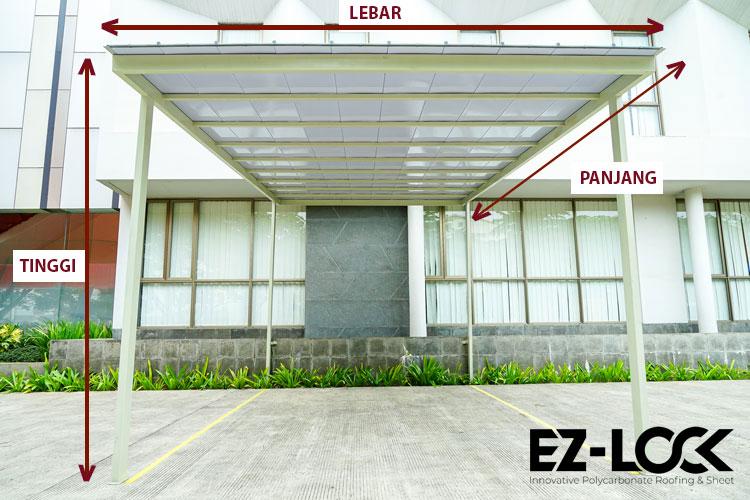 ukuran carport minimalis kanopi ezlock polycarbonate